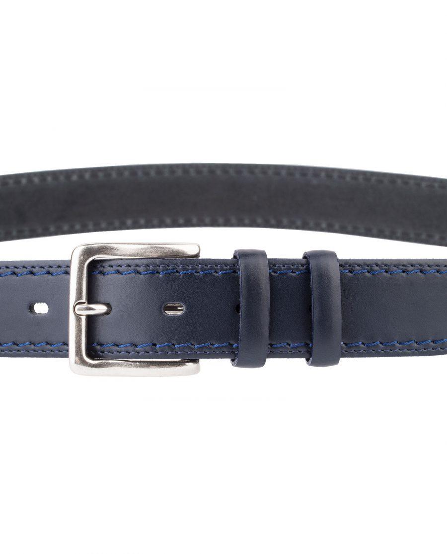 Italian-Blue-Leather-Belt-Threaded-Buckle-Zoom