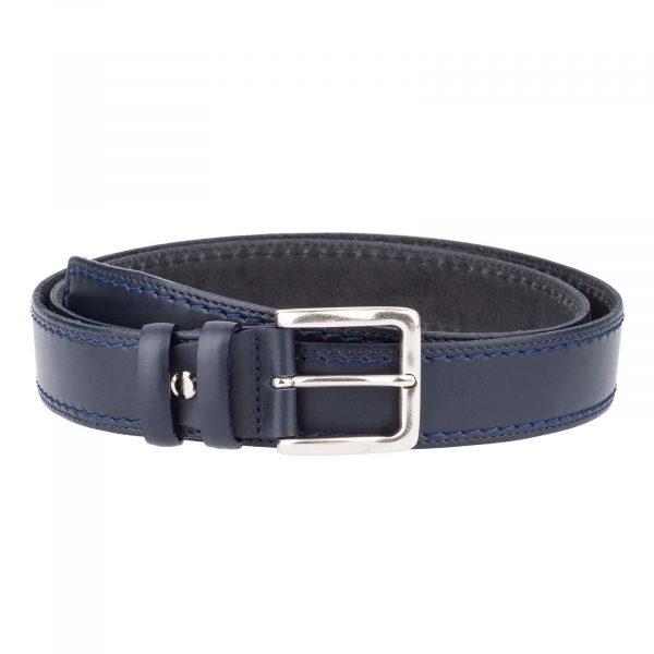 Italian-Blue-Leather-Belt-Threaded-Front-Version