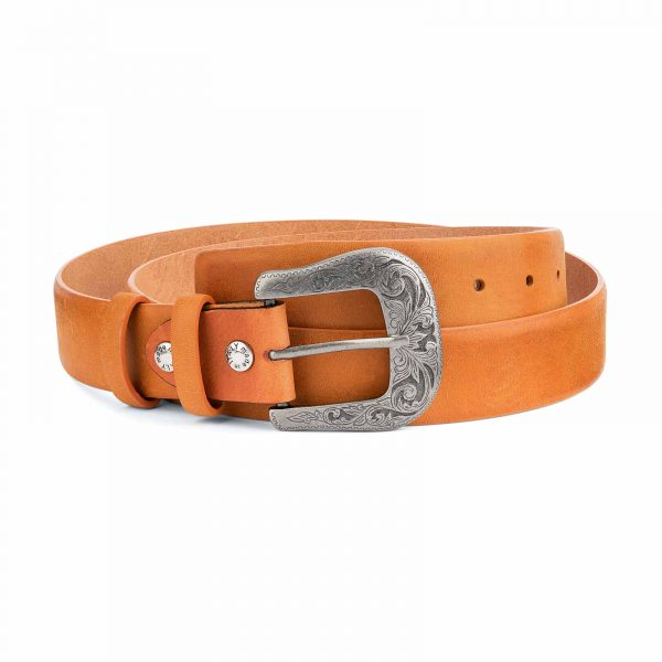 Light-Brown-Western-Belt-Mens-Veg-Tan-Leather-Capo-Pelle