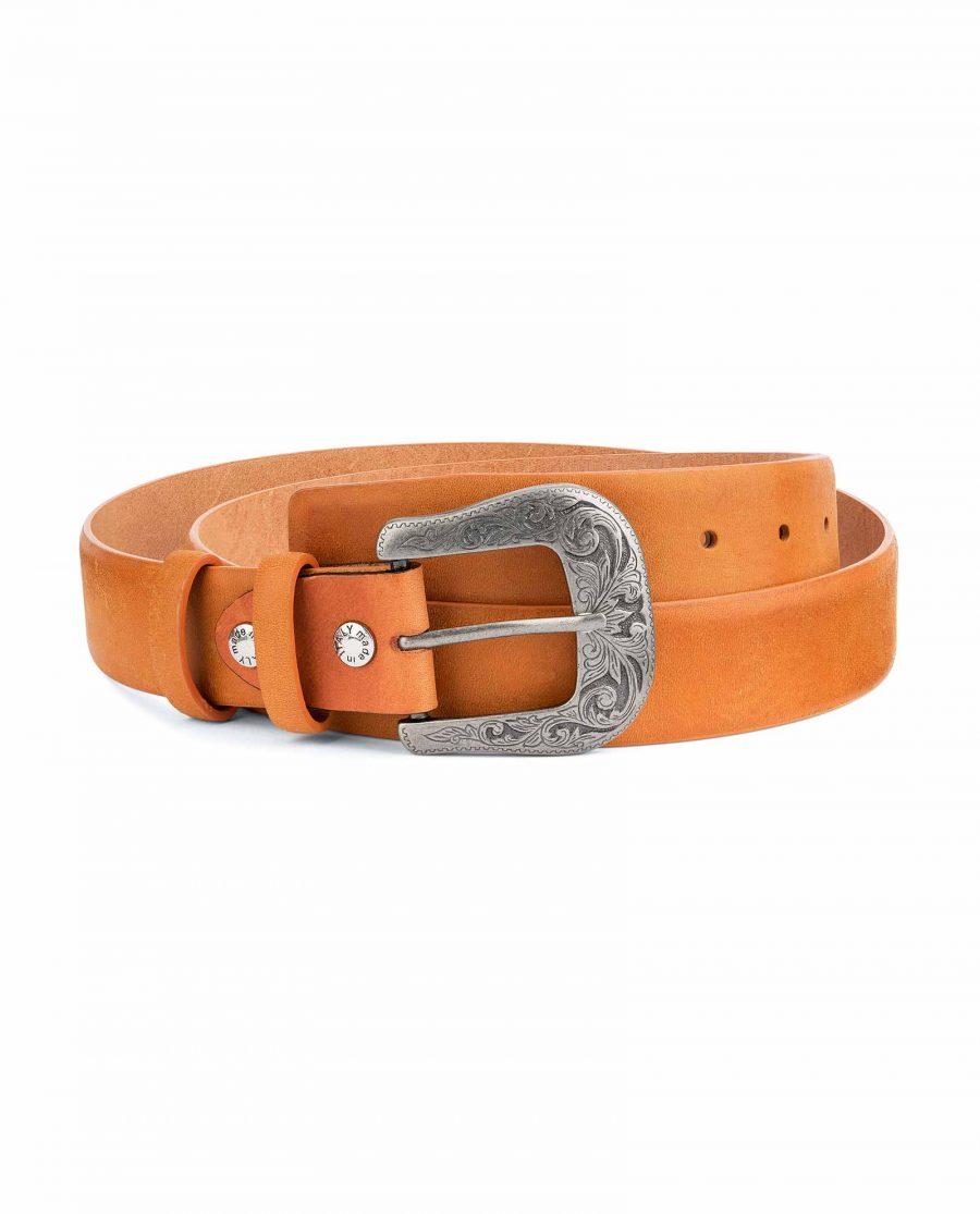 Light-Brown-Western-Belt-Mens-Veg-Tan-Leather-Capo-Pelle