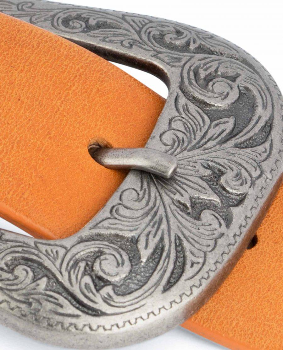 Light-Brown-Western-Belt-Mens-Veg-Tan-Leather-Floral-engrave