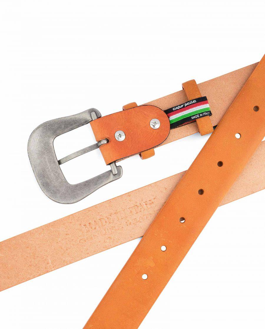 Light-Brown-Western-Belt-Mens-Veg-Tan-Leather-Heat-emboss