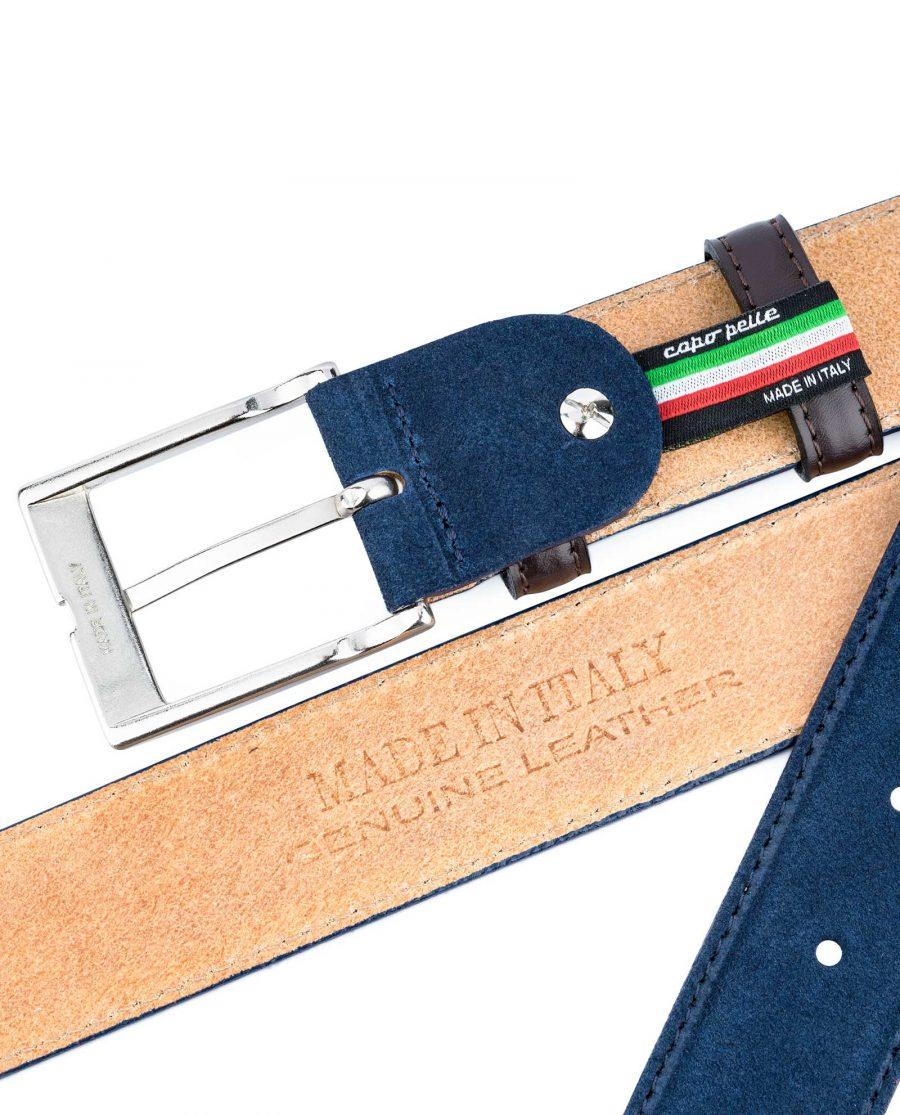Men-Blue-Suede-Belt-with-Brown-Loops-Heat-stamp