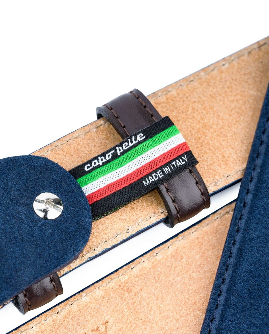Men-Blue-Suede-Belt-with-Brown-Loops-Made-in-Italy