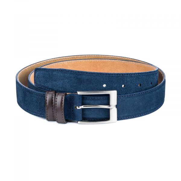 Men-Blue-Suede-Belt-with-Brown-Loops-Main-image