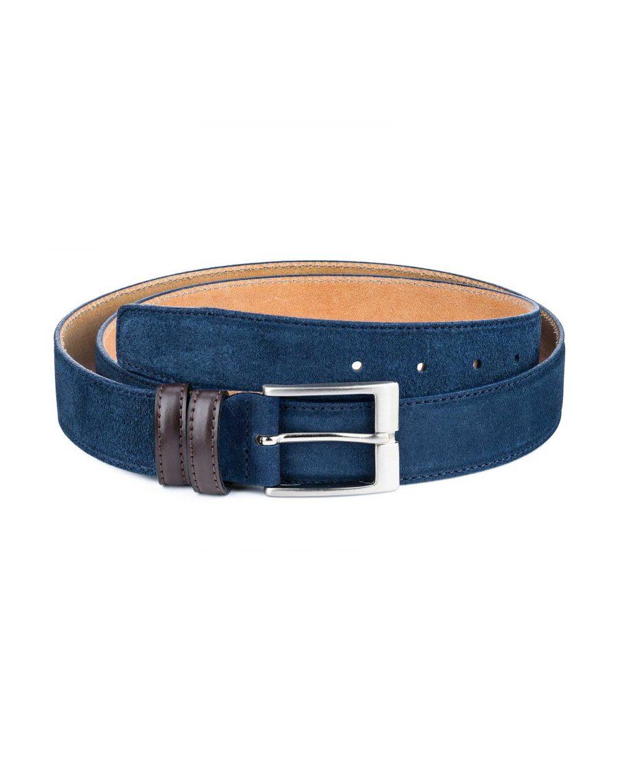 Men-Blue-Suede-Belt-with-Brown-Loops-Main-image