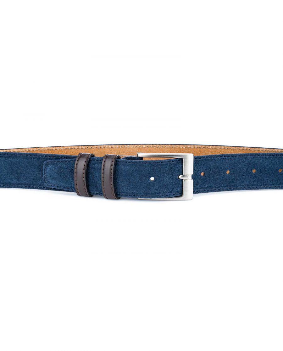 Men-Blue-Suede-Belt-with-Brown-Loops-On-pants