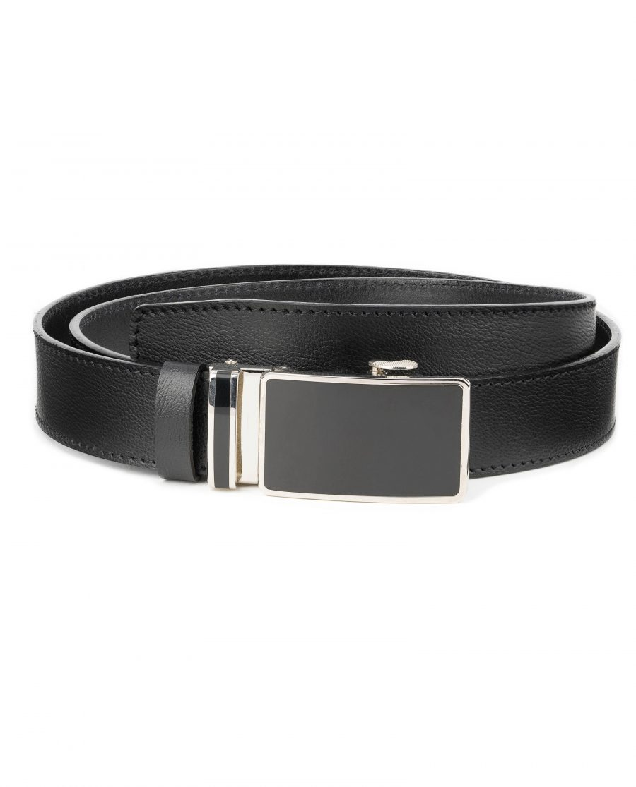 Mens-Black-Leather-Ratchet-Belt-Genuine-Leather-Capo-Pelle-Main-image