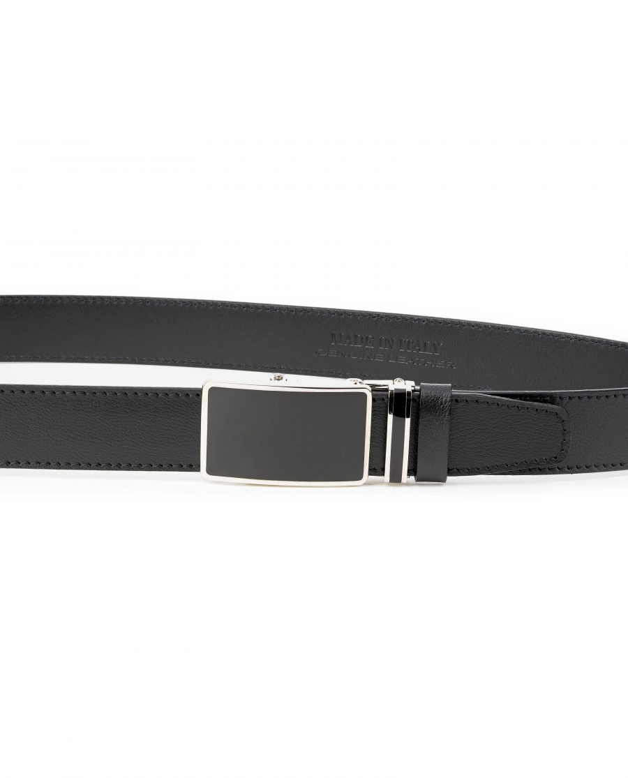 Mens-Black-Leather-Ratchet-Belt-Genuine-Leather-Capo-Pelle-On-trousers