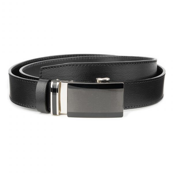 Mens-Black-Ratchet-Belt-Genuine-Leather-Capo-Pelle-Main-picture