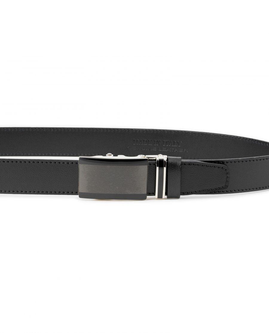 Mens-Black-Ratchet-Belt-Genuine-Leather-Capo-Pelle-On-trousers