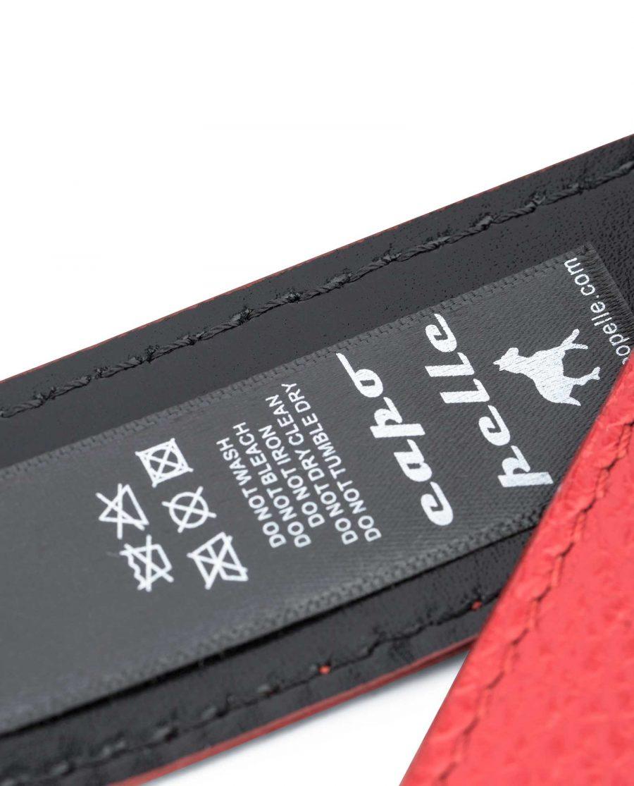 Mens-Black-Red-Reversible-Belt-Twist-buckle-Capo-Pelle-Care-tag