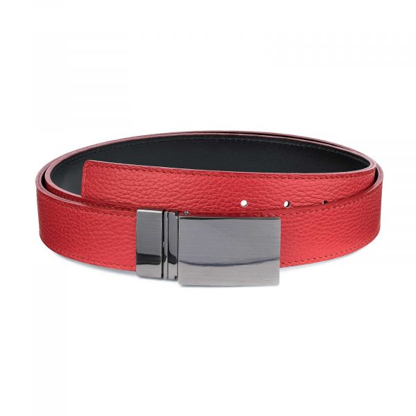 Mens-Black-Red-Reversible-Belt-Twist-buckle-Capo-Pelle-Main-picture