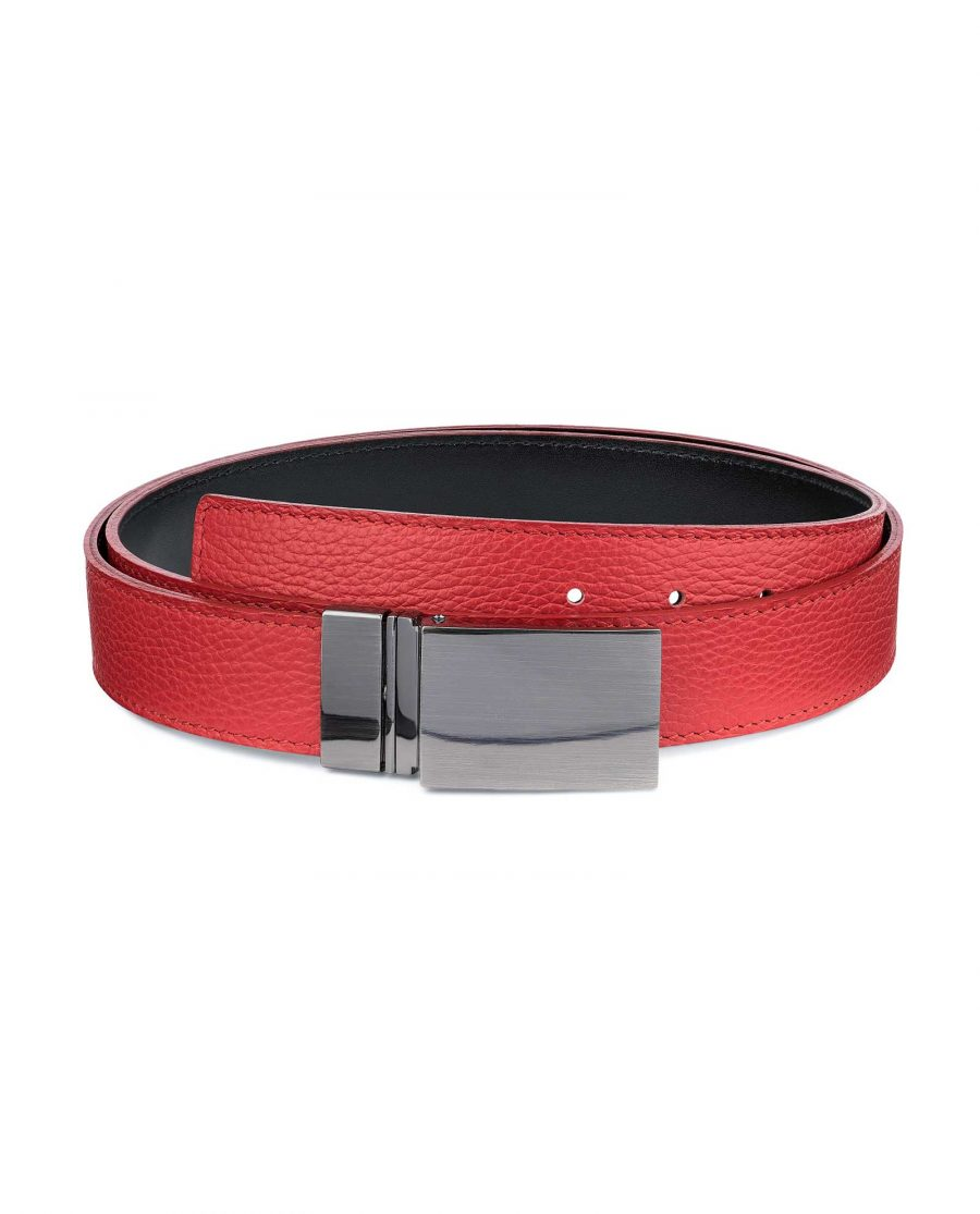 Mens-Black-Red-Reversible-Belt-Twist-buckle-Capo-Pelle-Main-picture