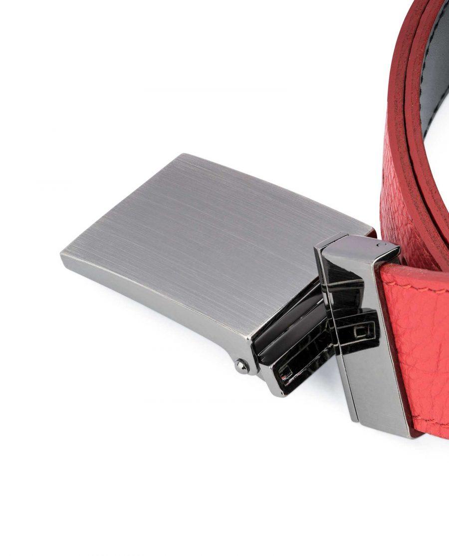 Mens-Black-Red-Reversible-Belt-Twist-buckle-Capo-Pelle-Mechanism