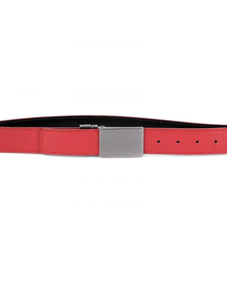 Mens-Black-Red-Reversible-Belt-Twist-buckle-Capo-Pelle-On-pants