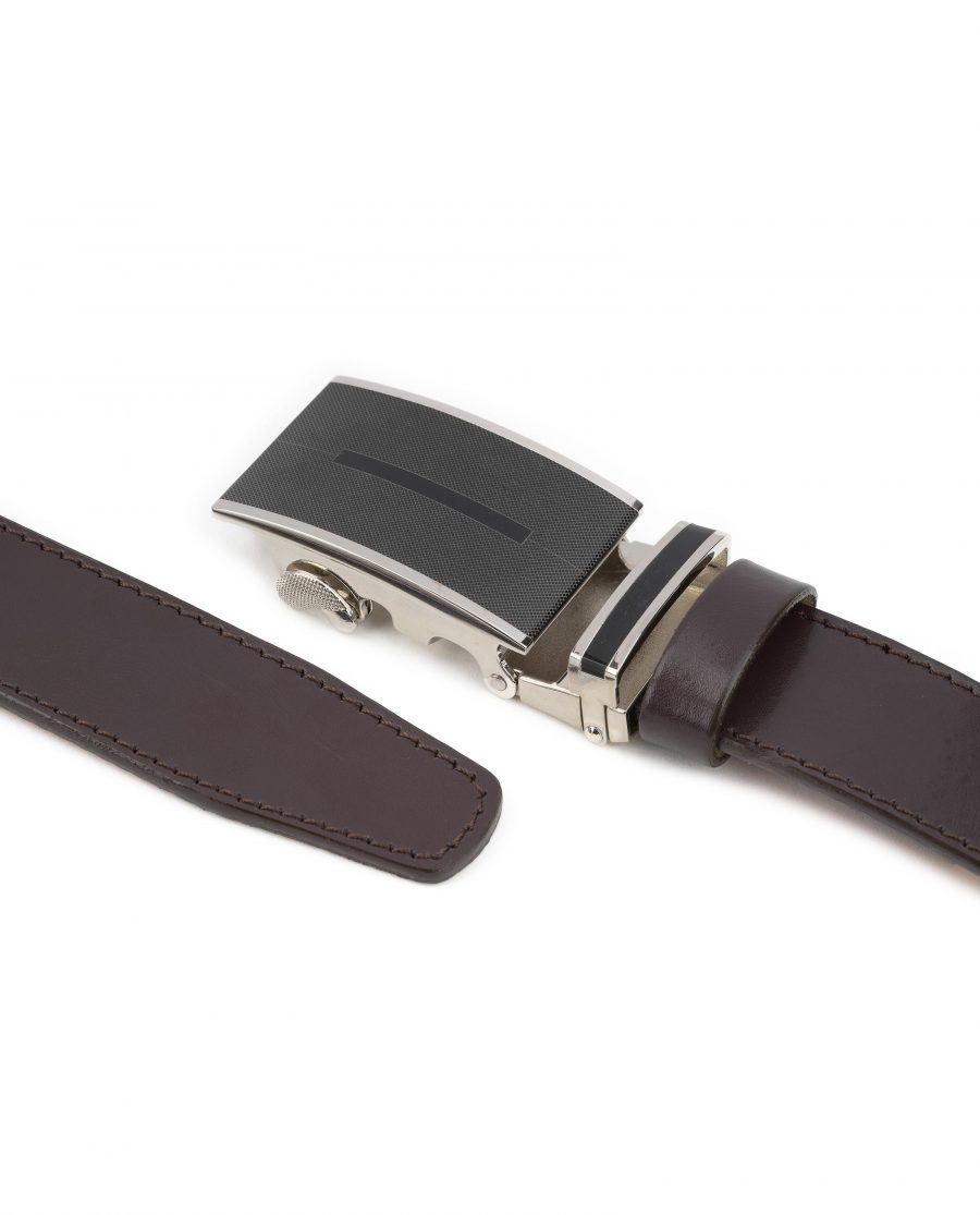 Mens-Brown-Automatic-Buckle-Belt-Genuine-Leather-Both-Ends