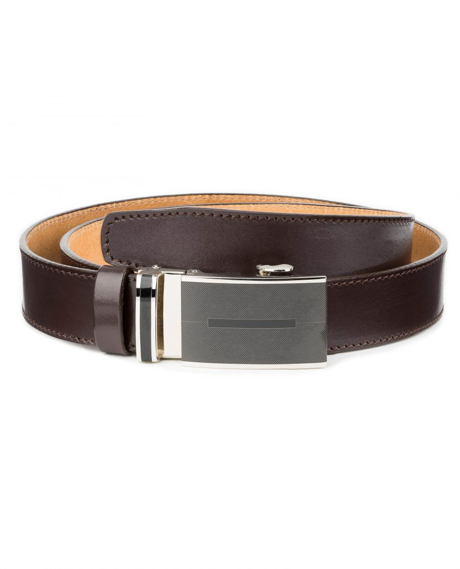Mens-Brown-Automatic-Buckle-Belt-Genuine-Leather-First-picture