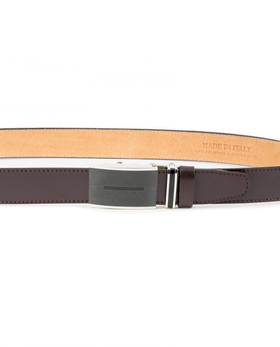 Mens-Brown-Automatic-Buckle-Belt-Genuine-Leather-On-trousers