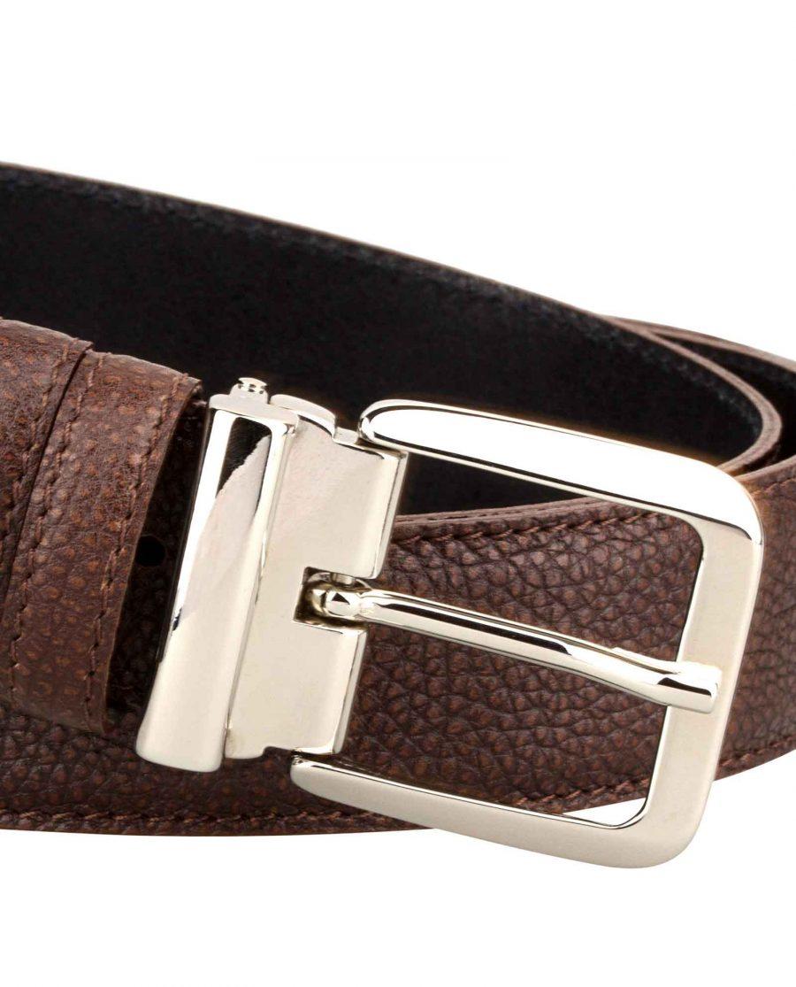 Mens-Brown-Belt-Italian-Buckle-Buckle-zoom
