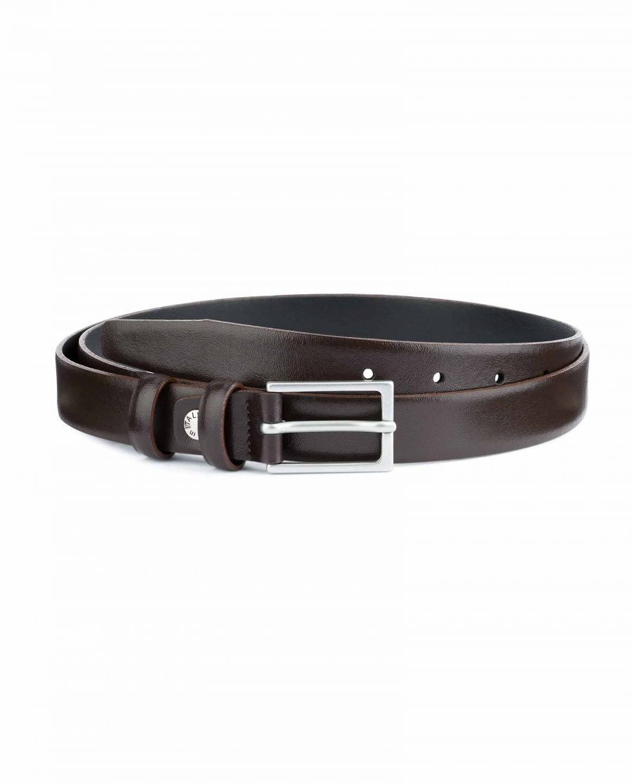 Mens-Brown-Leather-Belt-Narrow-1-inch-Capo-Pelle