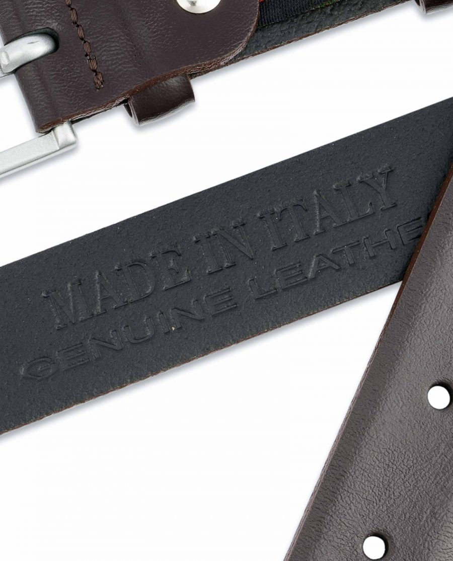 Mens-Brown-Leather-Belt-Narrow-1-inch-Made-in-Italy