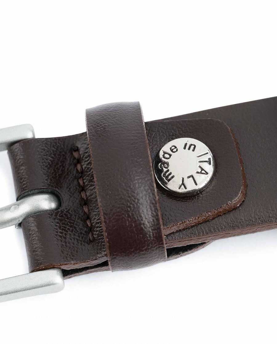 Mens-Brown-Leather-Belt-Narrow-1-inch-Made-in-Italy-screw