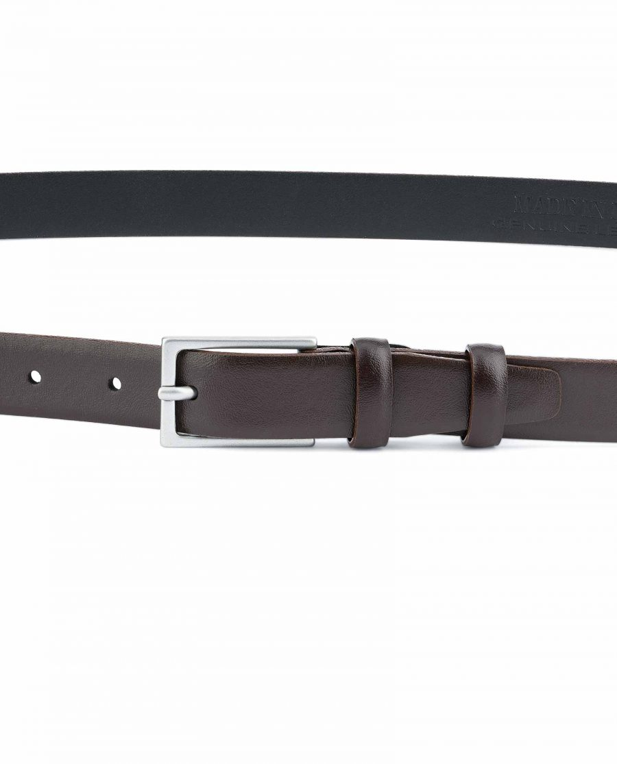 Mens-Brown-Leather-Belt-Narrow-1-inch-Silver-color-buckle