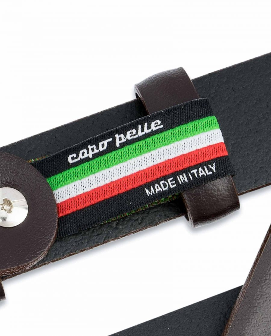 Mens-Brown-Leather-Belt-Narrow-1-inch-Woven-tag