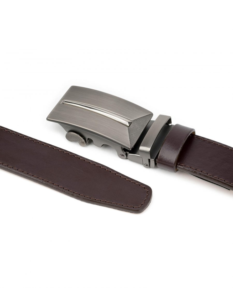 Mens-Brown-Leather-Ratchet-Belt-Gunmetal-Automatic-Buckle-By-Capo-Pelle-Both-ends-1
