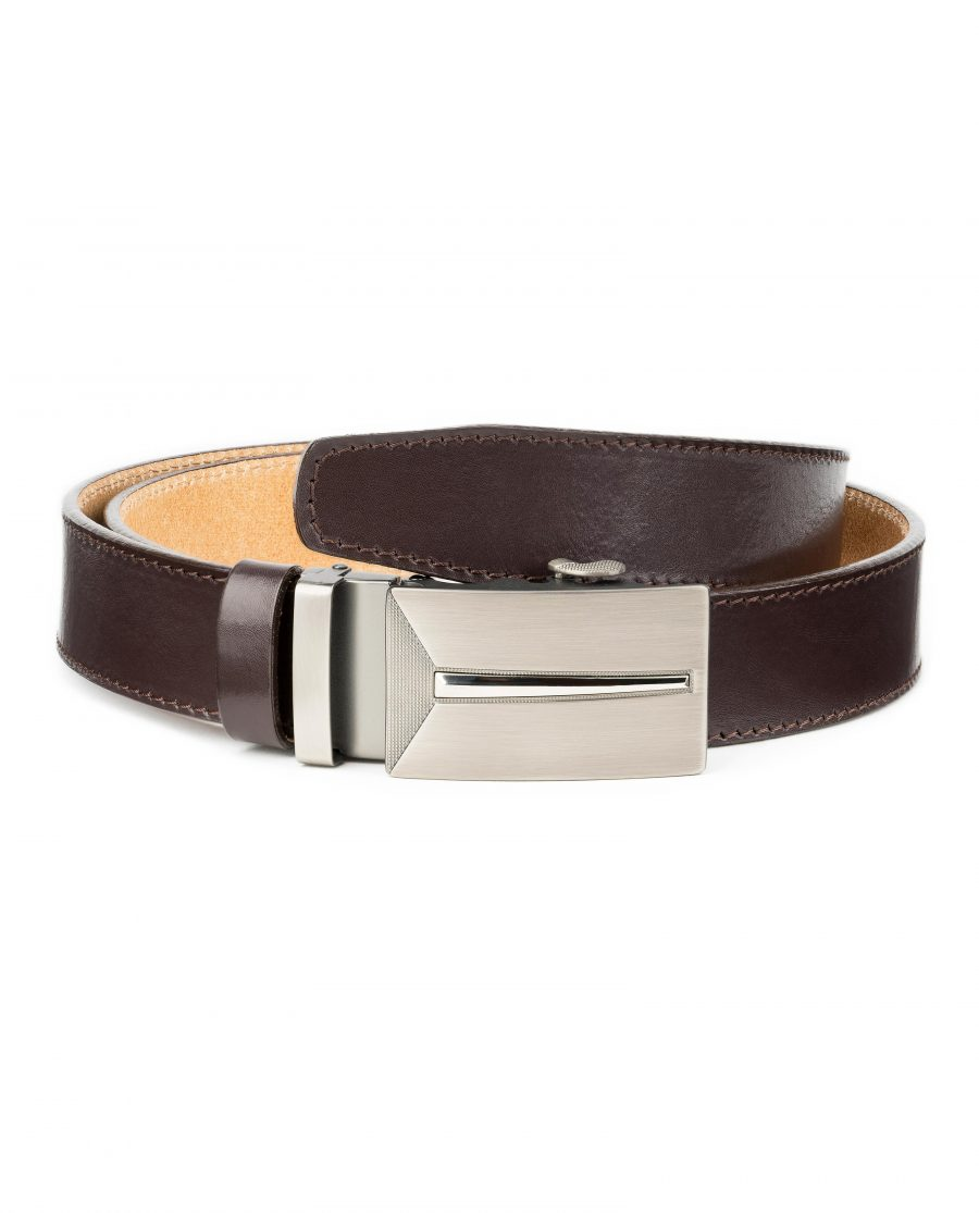 Mens-Brown-Leather-Ratchet-Belt-Gunmetal-Automatic-Buckle-By-Capo-Pelle-Main-picture-1