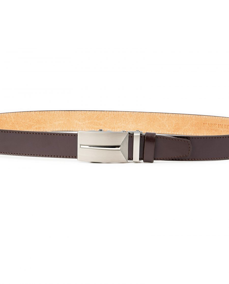 Mens-Brown-Leather-Ratchet-Belt-Gunmetal-Automatic-Buckle-By-Capo-Pelle-On-Pants-1