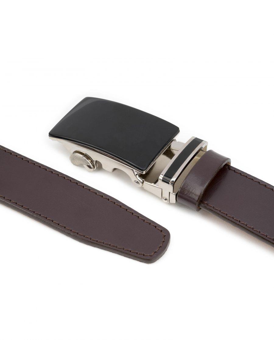 Mens-Brown-Ratchet-Belt-Black-Buckle-Capo-Pelle-Both-ends-pitcure