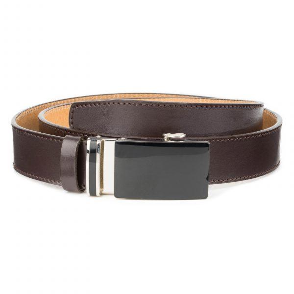 Mens-Brown-Ratchet-Belt-Black-Buckle-Capo-Pelle-Main-picture