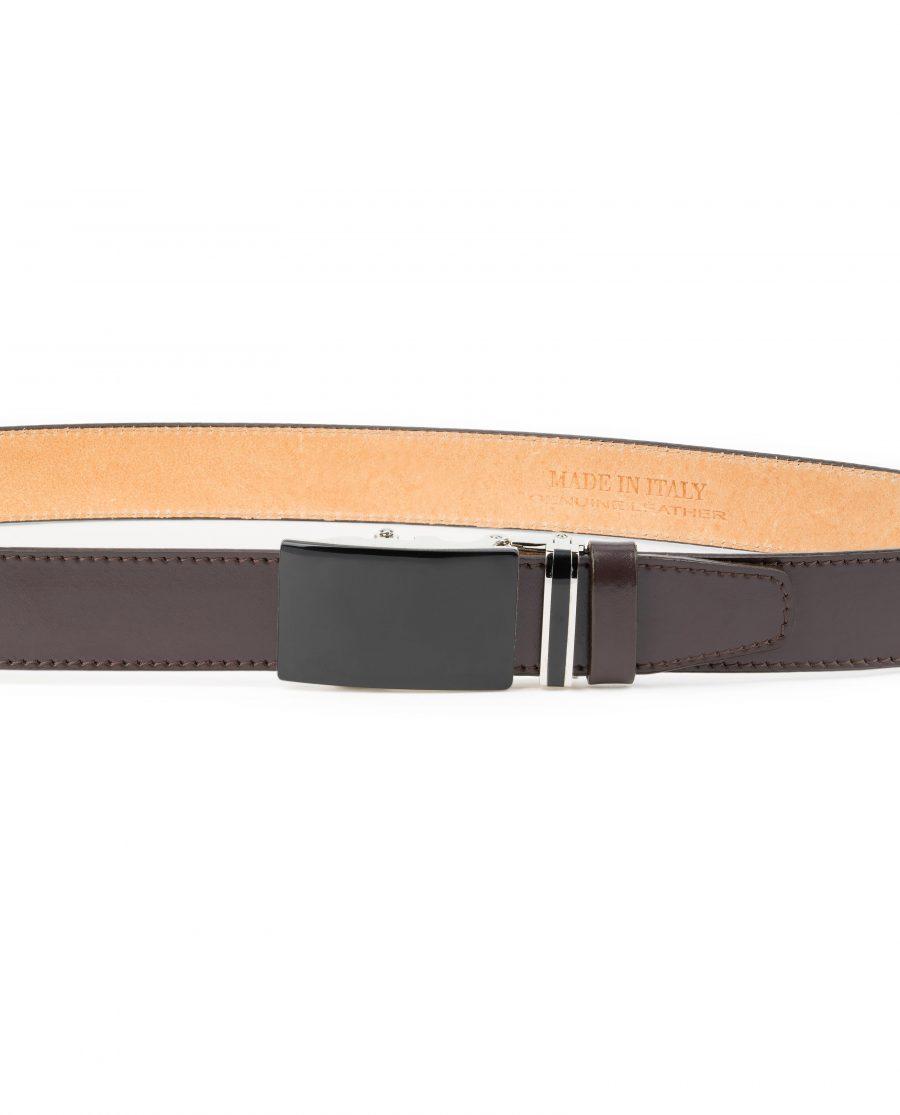 Mens-Brown-Ratchet-Belt-Black-Buckle-Capo-Pelle-On-trousers-image