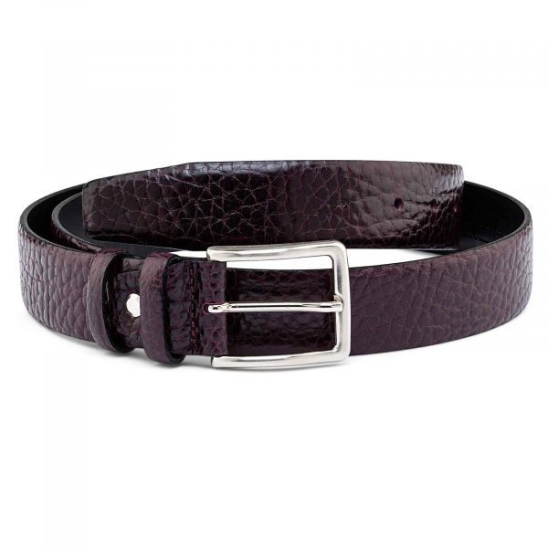 Mens-Burgundy-Cowhide-Belt-Main-picture