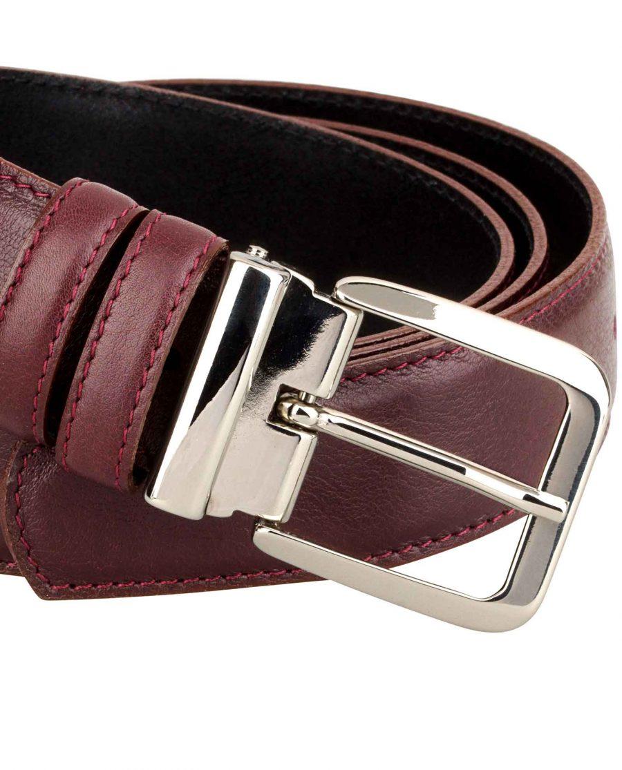 Mens-Burgundy-Leather-Belt-Buckle-image