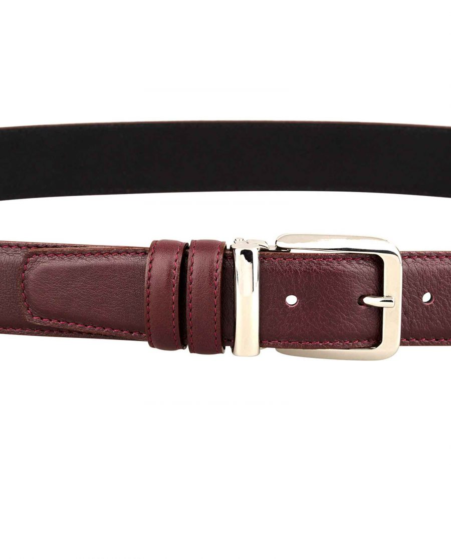 Mens-Burgundy-Leather-Belt-On-trousers