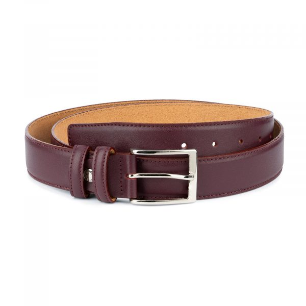 Mens Burgundy Leather Belt Stitched 1