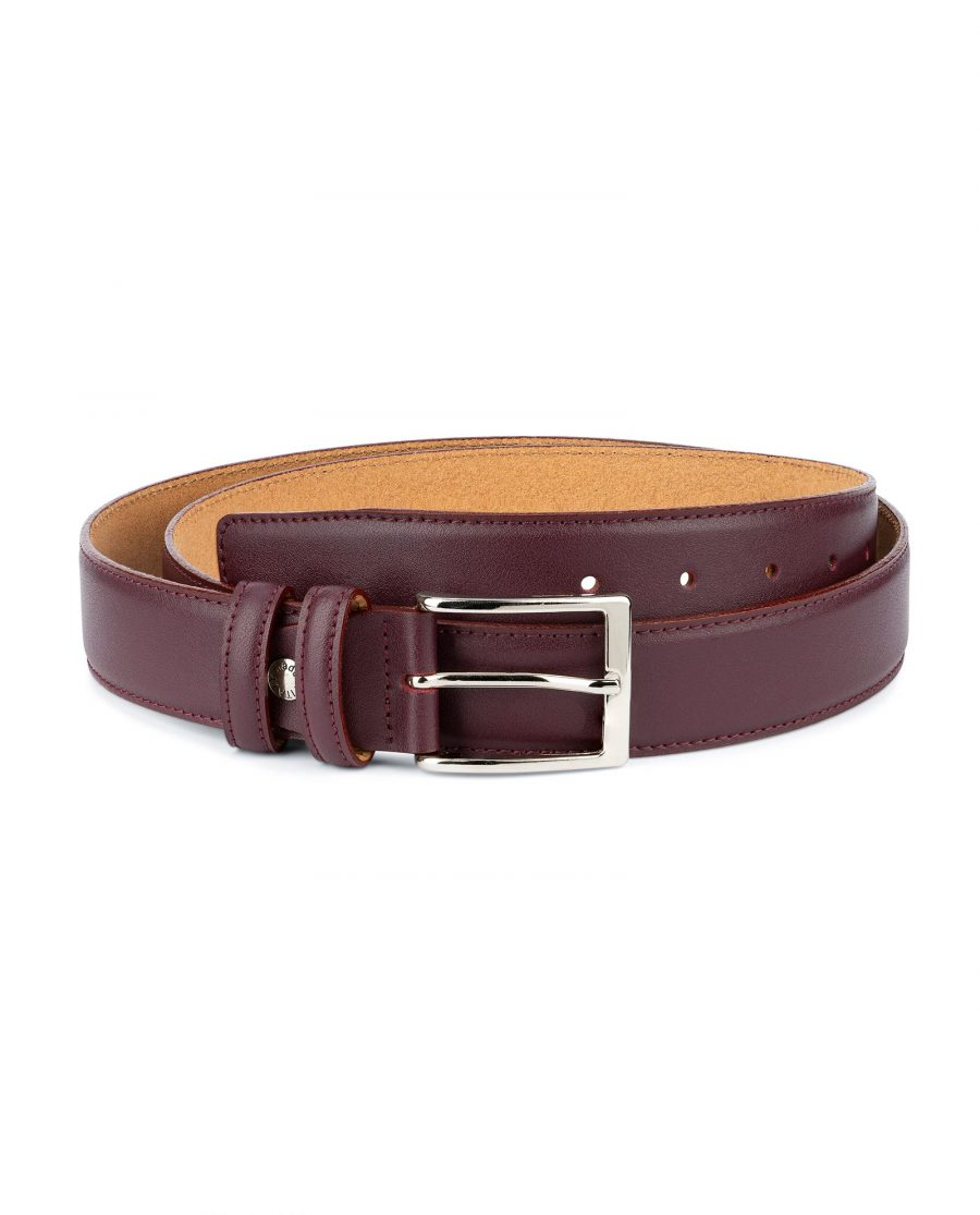Mens Burgundy Leather Belt Stitched 1