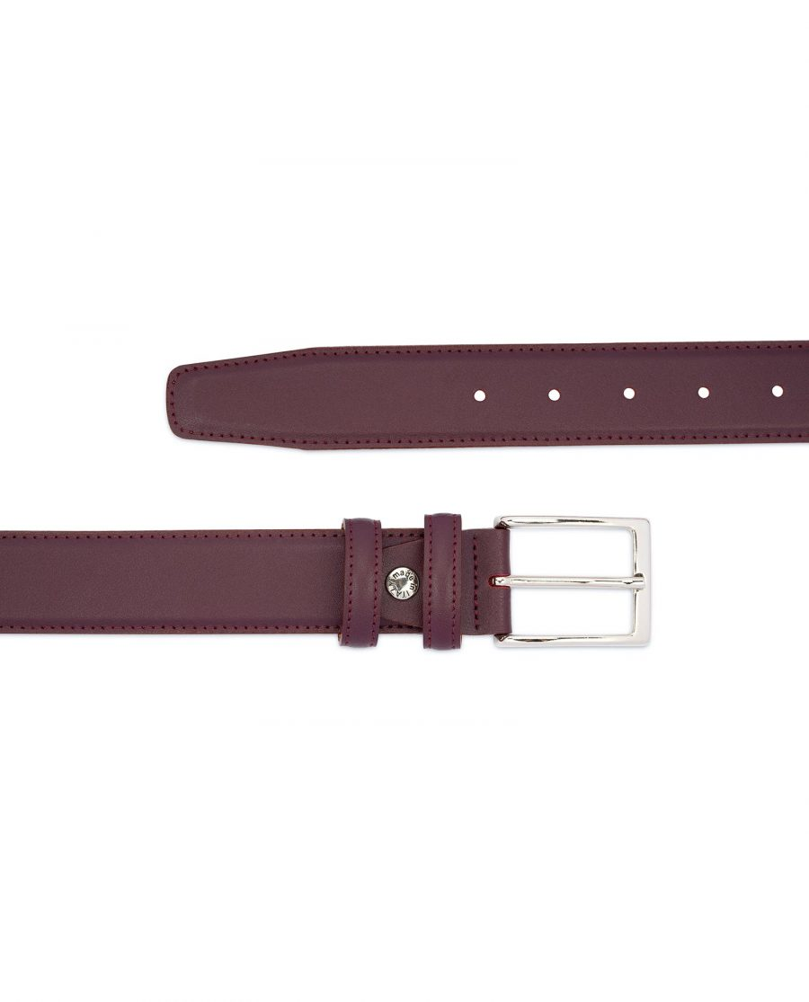Mens Burgundy Leather Belt Stitched 2
