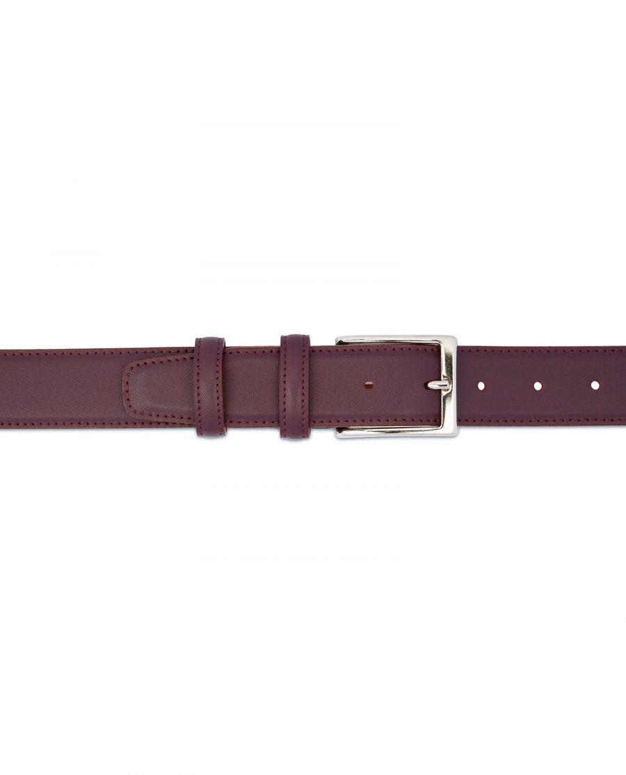 Mens Burgundy Leather Belt Stitched 3
