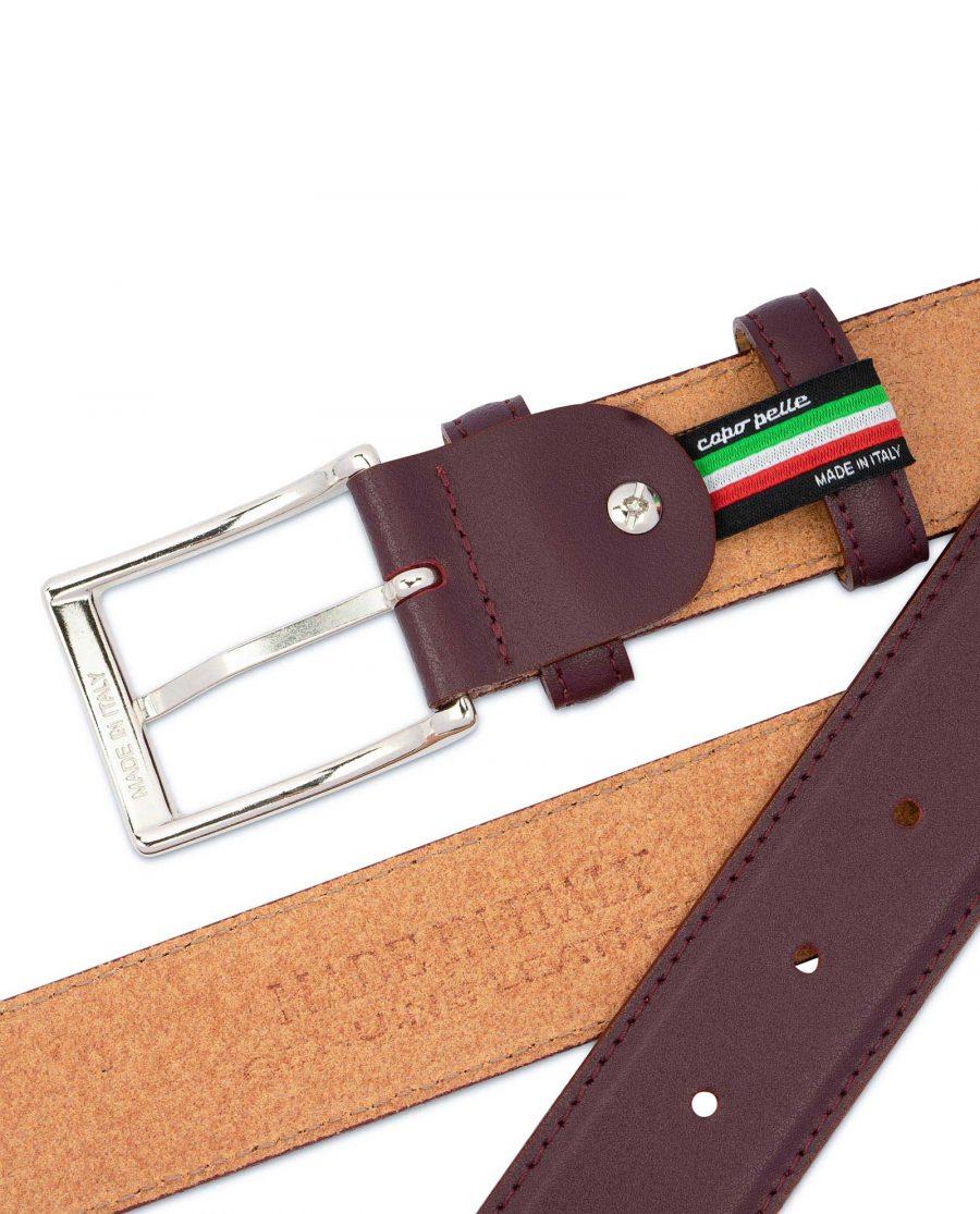 Mens Burgundy Leather Belt Stitched 4