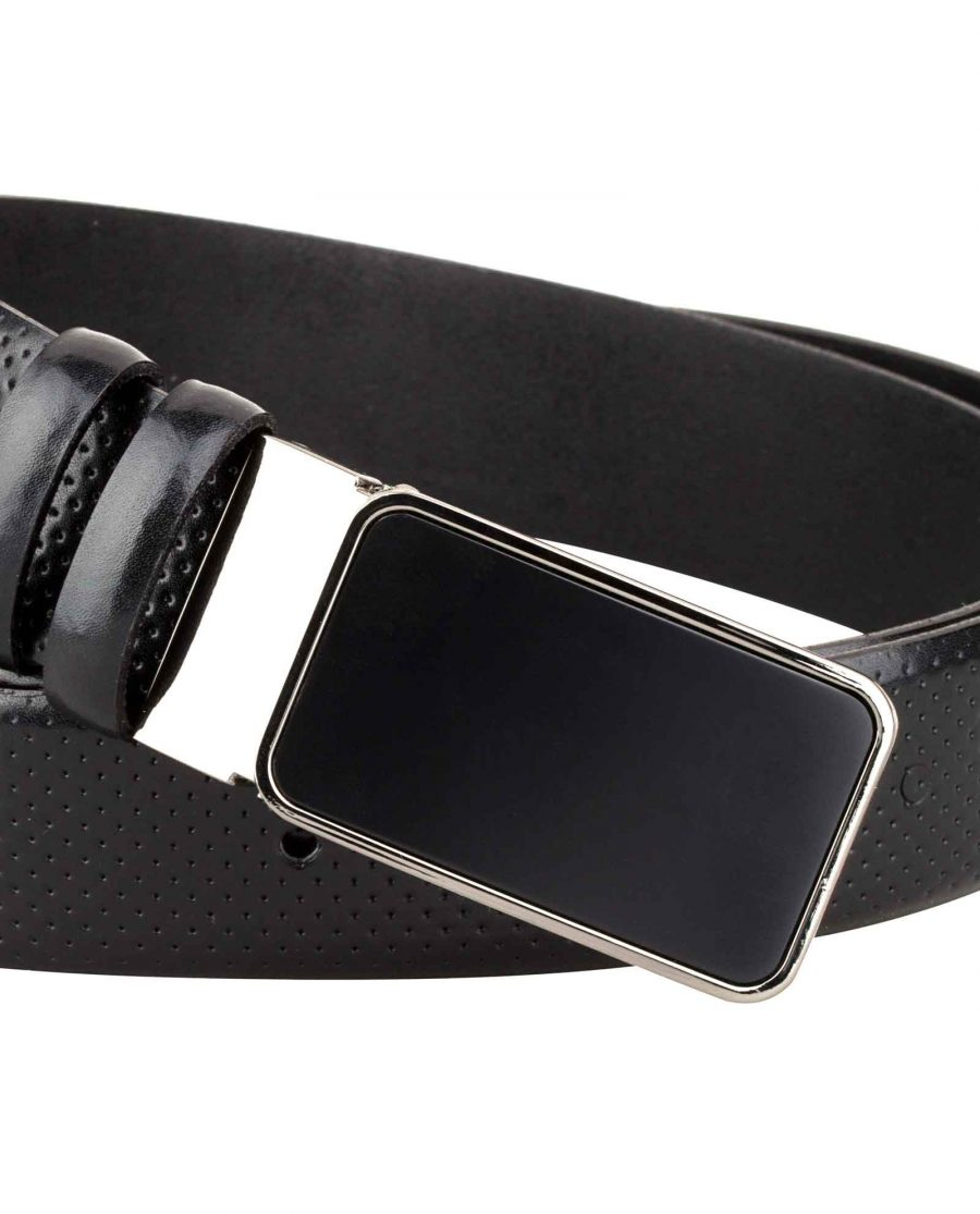 Mens-Golf-Belt-Perforated-Leather-Buckle-image