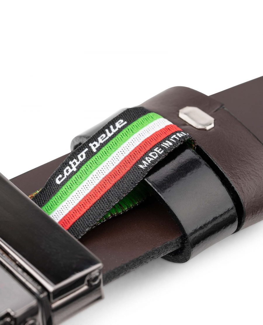 Mens-Patent-Leather-Belt-Black-Brown-Reversible-by-Capo-Pelle-Belt-keeper