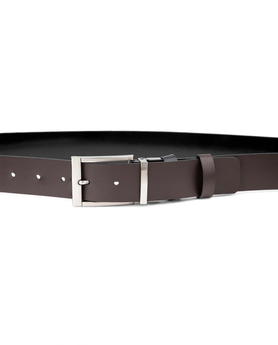 Mens-Patent-Leather-Belt-Black-Brown-Reversible-by-Capo-Pelle-Reverse-side