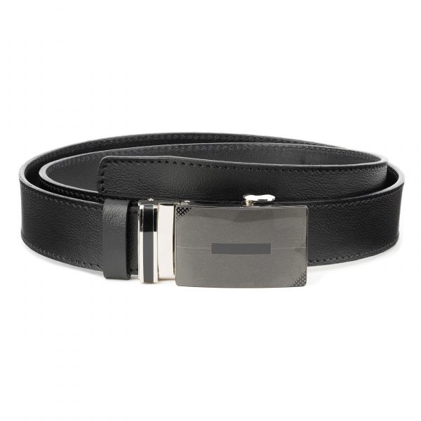Mens-Ratchet-Belt-Black-Leather-Automatic-Buckle-First-image