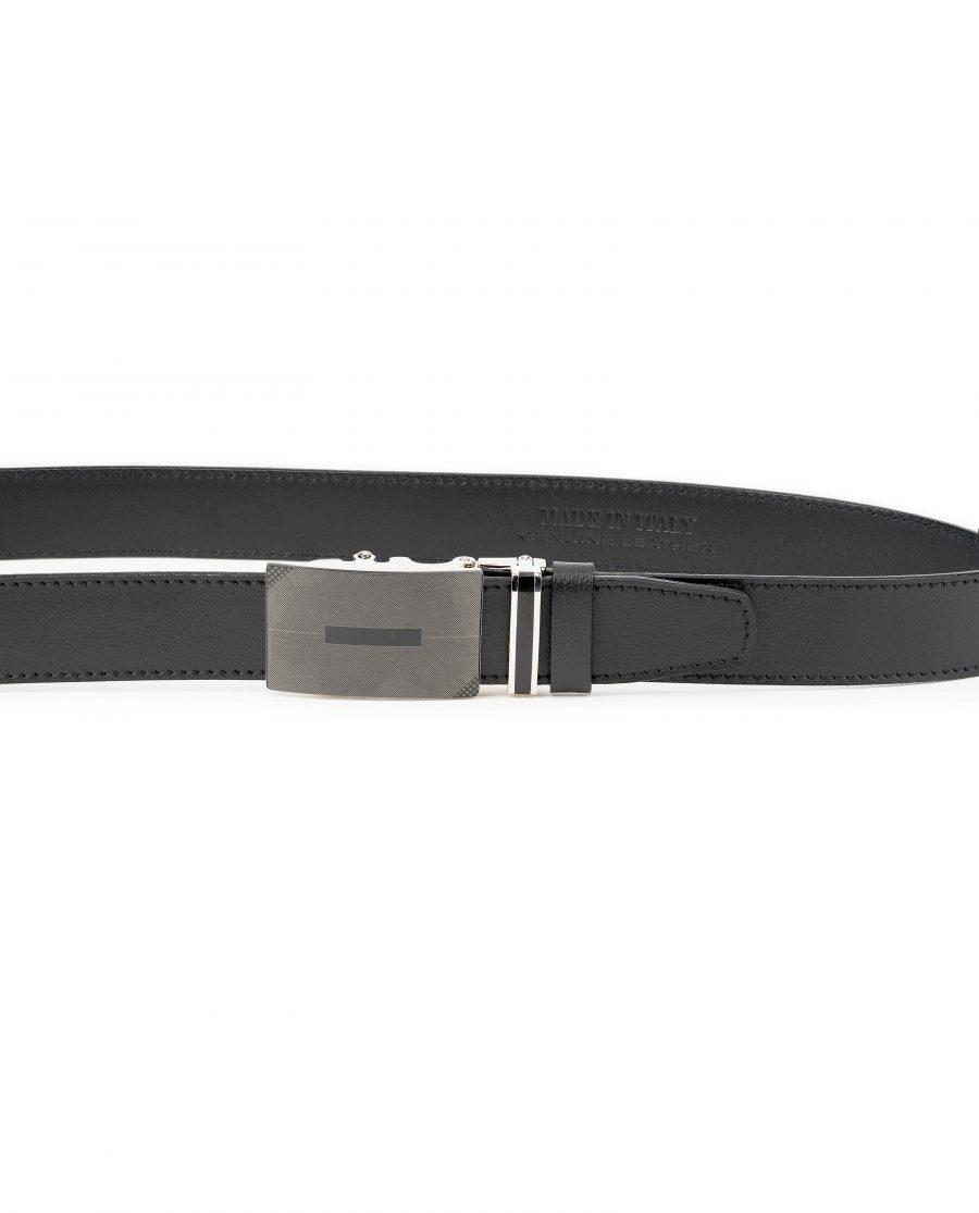 Mens-Ratchet-Belt-Black-Leather-Automatic-Buckle-On-pants
