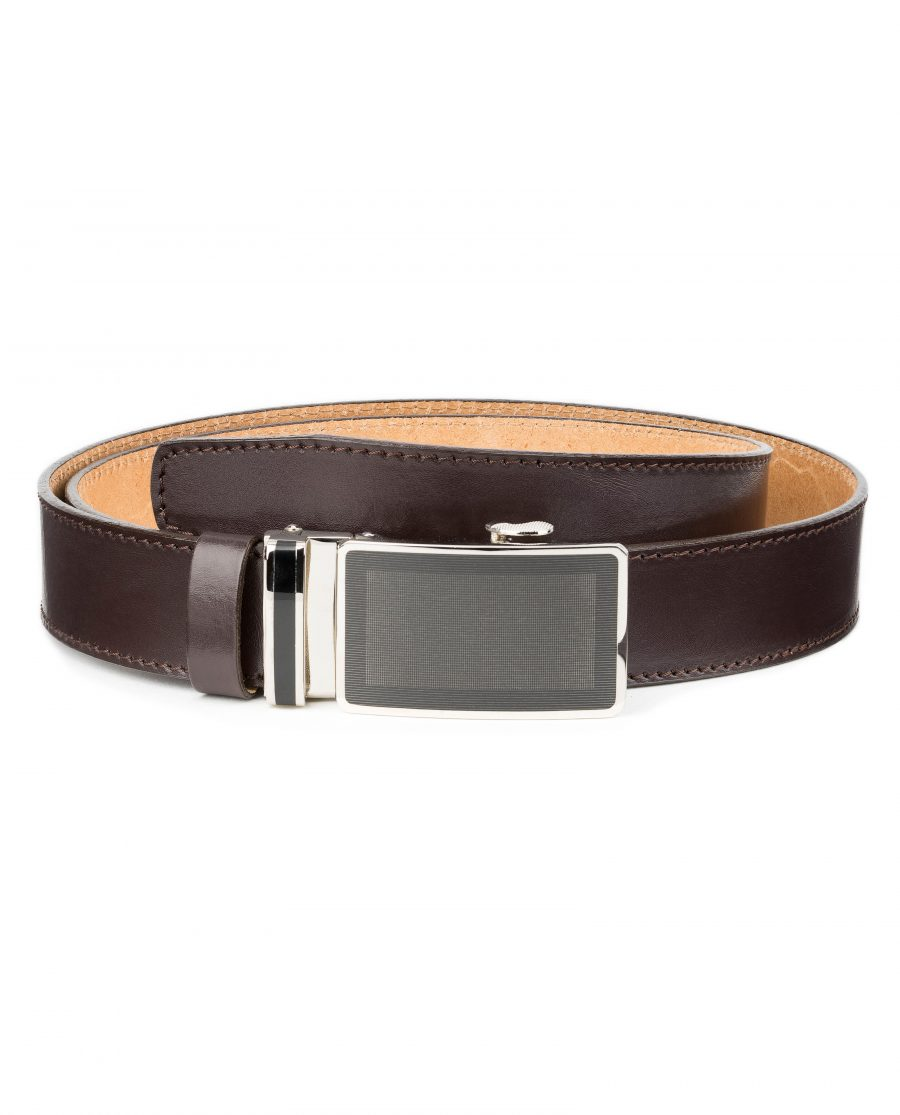 Mens-Ratchet-Belt-Brown-Leather-Automatic-Buckle-First-image
