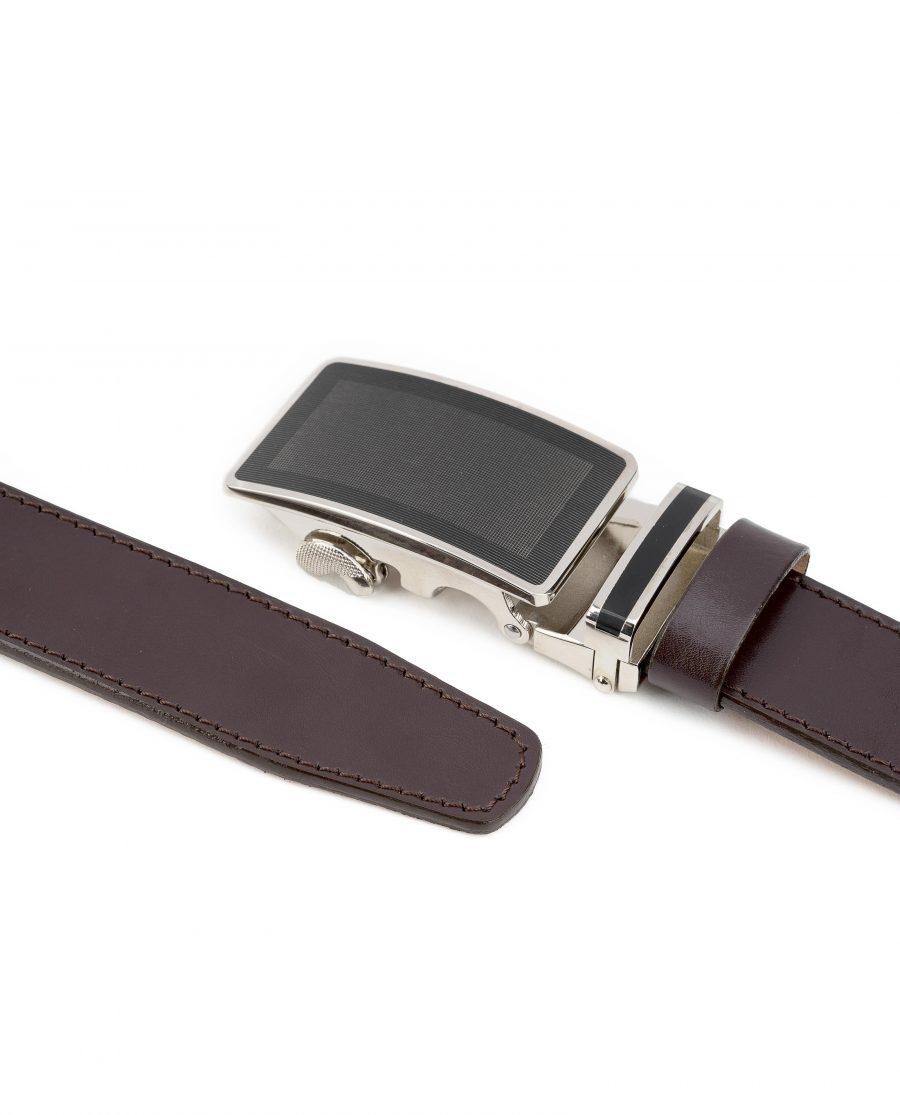 Mens-Ratchet-Belt-Brown-Leather-Automatic-Buckle-Mechanism